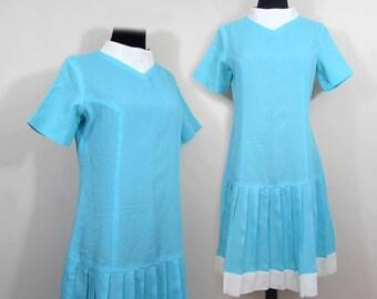 Drop Waist Pleated Dress - 1960s Lorrie Deb turquoise & white - S-M