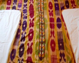 Antique Uzbek Silk Ikat Dress with Peshkurta 1890-1920