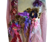 RESERVED For Deb Unique Art To Wear Romantic  Brooch With VELVET PANSY  Forest Fairy Gipsy Boho Antoinette Tattered