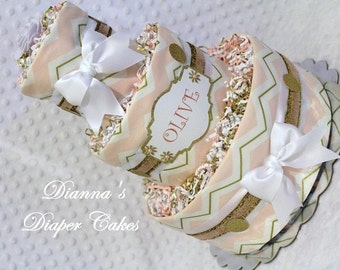 Baby Diaper Cake Shower Centerpiece Pink White and Gold