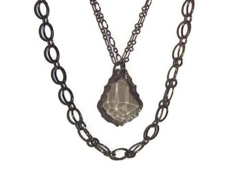 Baroque Pendant on Gunmetal Chains