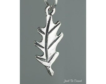 Oak Leaf Charm Sterling Silver Tree Leaves or Autumn Fall Designs .925