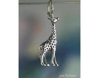 Sterling Silver Giraffe Charm Giraffes African Safari 3D Solid .925