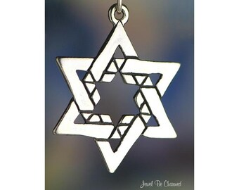Large Star of David Charm Sterling Silver Judaism Jewish Solid .925