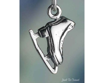 Small Sterling Silver Figure Skating Ice Skate Charm 3D Solid .925