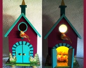 Birdhouse Night Light Lamp with Chicks in a Basket