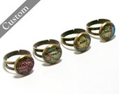 One Custom Vintage Map Ring, You Select the Location. Anywhere In The World. Map Ring. Map Jewelry. Travel. Personalized.