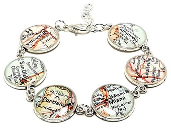 Custom Vintage Map Bracelet. You Select Six Locations Worldwide. Travel Map Jewelry. Going Away Gifts For Her. Missing You Gift For Friend.