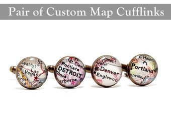 CUSTOM Vintage Map Cufflinks. One Pair. You Pick Two Cities. Wedding Cufflinks. Groom. Personalized Anniversary Gift Ideas.