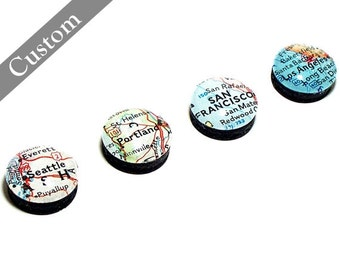 Custom Map Magnets. Set of Four. You Select Locations. Anywhere In The World. Super Strong Personalized Gift Ideas
