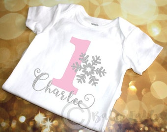 Personalized 1st Birthday shirt, bodysuit, snowflake, first birthday, sparkly shirt, Pink and Silver Glitter Birthday Girl, Winter Birthday