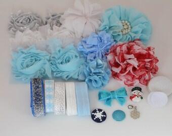 Headband Kit - Let it Snow - DIY Headband Kit - Baby Shower Headband Bar - Christmas Headband Kit