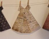 Large Origami Dress tan french Paris newsprint newspaper theme pattern