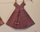 Large Origami Dress french Paris purple eggplant tan newsprint theme