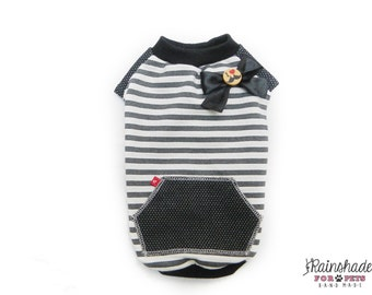 Brushed sweaters for dogs. I love mustache black and white stripe. Tg. XS-S-M-L Pets clothes