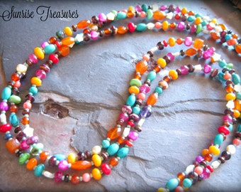 Multi Strand Eclectic Mixed Gemstone Necklace, Colorful Natural Stone Necklace, Southwest Necklace, Cowgirl Western Jewelry