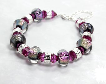 Handmade Dichroic Glass Beaded Bracelet, Swarovski Crystal, Large Beads Chunky Bracelet, Pink and Black Fuchsia Silver Beads