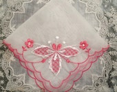 vintage handkerchief, sheer, lady's hanky, bride, embroidered, hot pink, gift for her