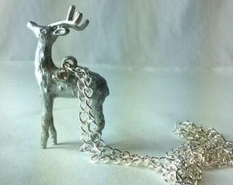 Silver Winter Deer Necklace