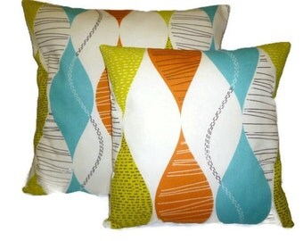 Pillow Covers PAIR 22 and 16 inch Orange Green Blue Designer Cushion Covers Pillowcases Shams Slips Scatter.