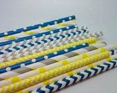 Nautical Boy - Stripe Paper Straws - Paper Party Straws - QTY 25 - Navy Yellow Grey