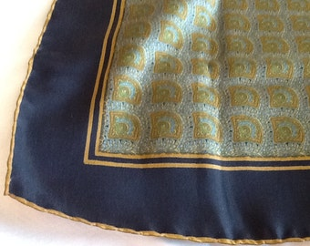 Vintage Large Square Silk ASHEAR Pocket Square With Fan Deisgn Gold Black Green