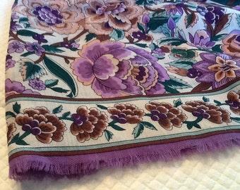 Vintage Large Floral Scarf or Shawl Purple Flowers Pink Green