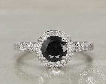 Black Diamond Engagement Ring - Black Diamond Ring - Black Diamond Halo Ring - Black And White Ring - Black White Diamonds