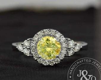 Yellow Diamond Engagement Ring 1 Carat Ring in 18k White Gold