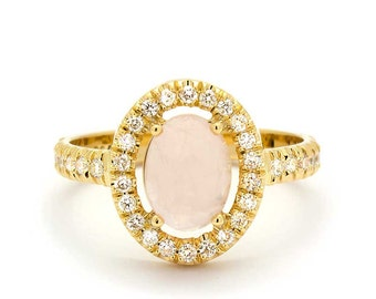 Vintage Diamond Rose Quartz Engagement Ring in 18k Yellow Gold