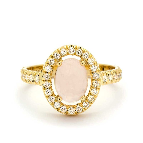 Vintage diamond rose quartz engagement ring in 18k yellow gold for Quartz wedding rings