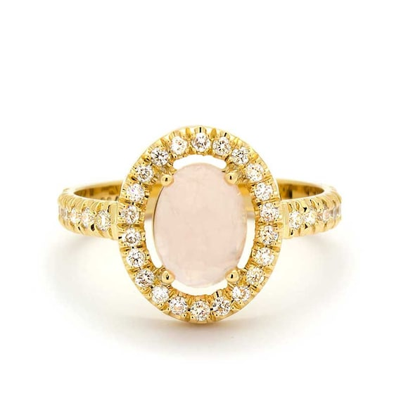 Quartz Wedding Rings Vintage Diamond Rose Quartz Engagement Ring In 18k Yellow Gold