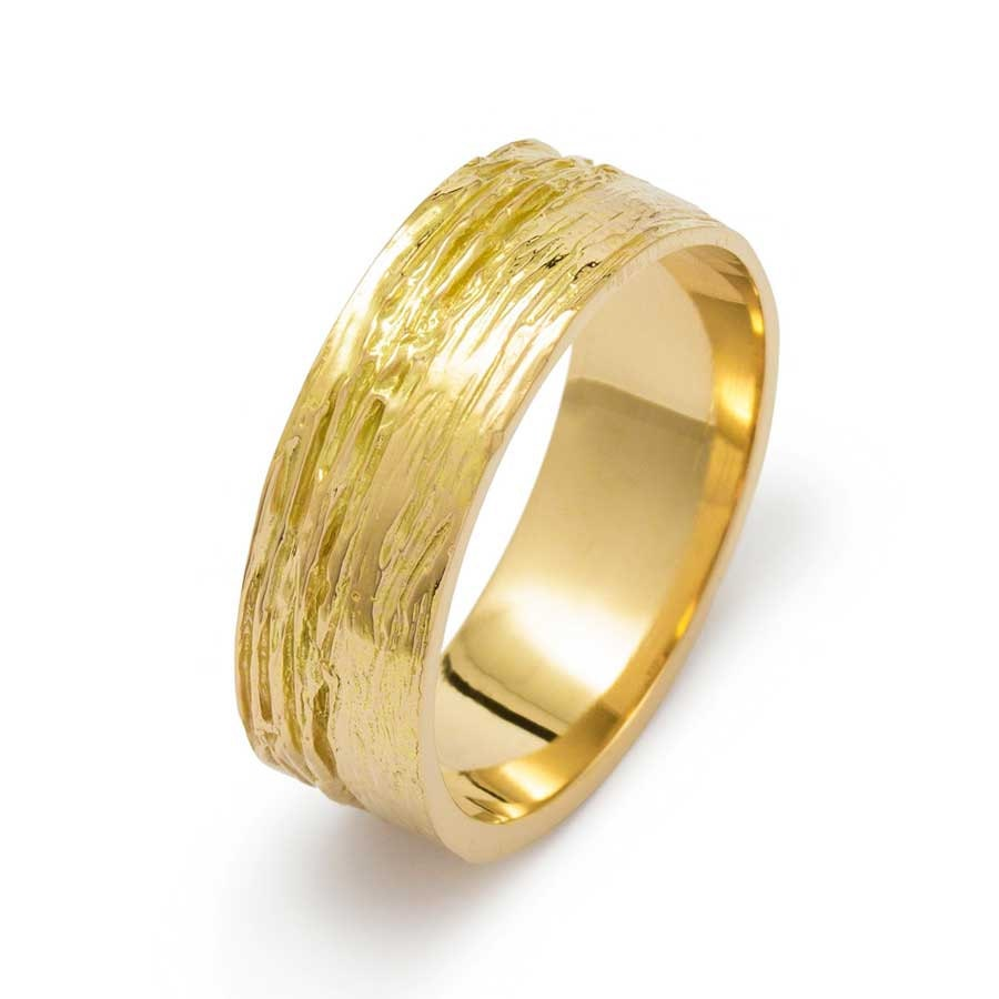 Mens Wood Grain Wide Matte Wedding Band In Yellow Gold