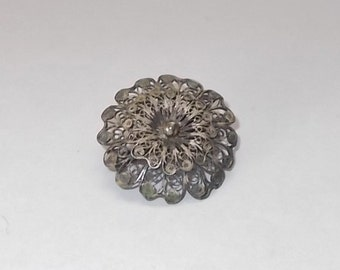 Vintage 1940's Delicate Round Silver Filigree Pin or Brooch-Marked 800-Floral Design