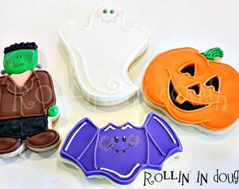 Halloween Cookies, Jack-O-Lantern Cookies, Ghost Cookies, Bat Cookies, Frankenstein Cookies - 1 Dozen