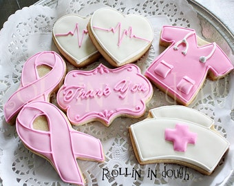 Breast Cancer Cookies, Breast Cancer Thank You Cookies - 1 DOZEN