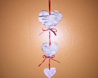 White birch bark glittering hearts