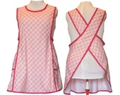 Plus Size Kitchen Apron, No Tie Apron, Crossback Apron - Pink and Raspberry Plaid with tiny flowers - Sizes XL, 2XL, 3XL, 4XL