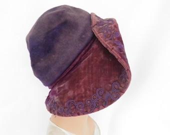 1930s Fisk hat, 1920s capeline drooping brim, lavender purple