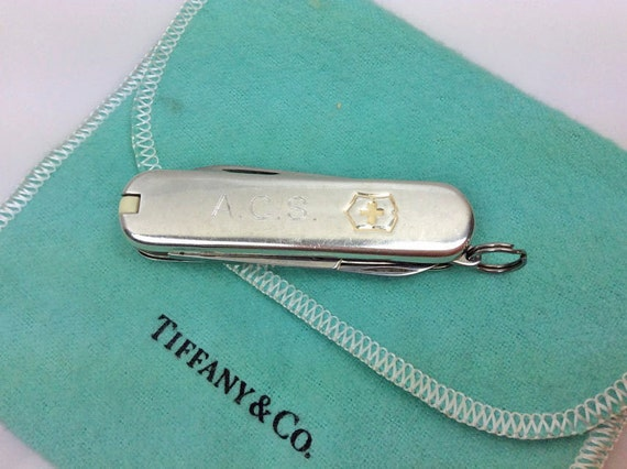Tiffany Gents 18k Gold Sterling Silver Swiss Army Pocket