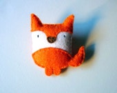 Fox felt brooch, forest animal, woodland creature, little doll plush