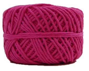 Hemp Yarn, Bright Pink, Cotton Blend, 66 Yards