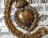 Sacred heart necklace ex voto Ave Maria large rhinestone flaming heart jewelry statement assemblage by Madonnaenchanted