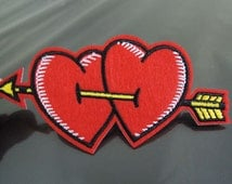 Double Love Patches - Iron on or Sewing on Patch Red Double Heat Love Patch with Arrow Patches Applique Embroidered Patch Embellishment