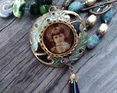 Antique Tin type, sepia photo, pendant necklace with natural green stone, amonite fossil necklace, vintage assemblage, OOAK