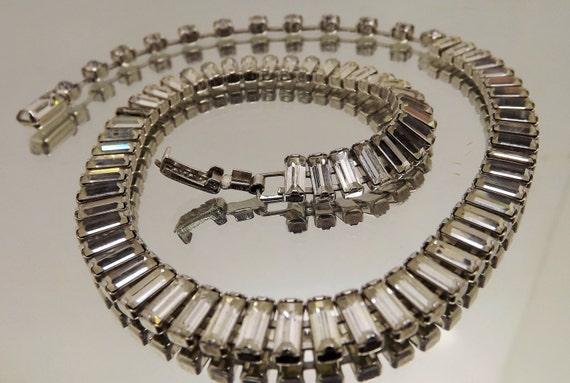 Vintage Clear Rhinestone Baguette Choker Necklace Wedding Prom