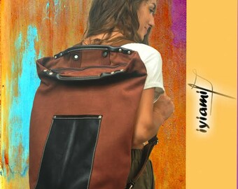 Canvas backpack for men and women ,for gym,weekender bag,combined with leather details ,named Achilles MADE TO ORDER
