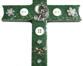 Green with 9 Drummers Drumming Cross