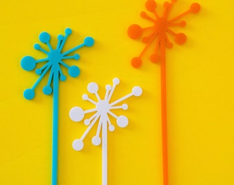 Drink Stirrers, Retro  Mid Century Starbursts, Palm Springs, Swizzle Sticks, Laser Cut, 6 CT.