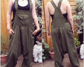 Baggy Harem Aladdin Trousers Dungarees, Harem Pants All In One